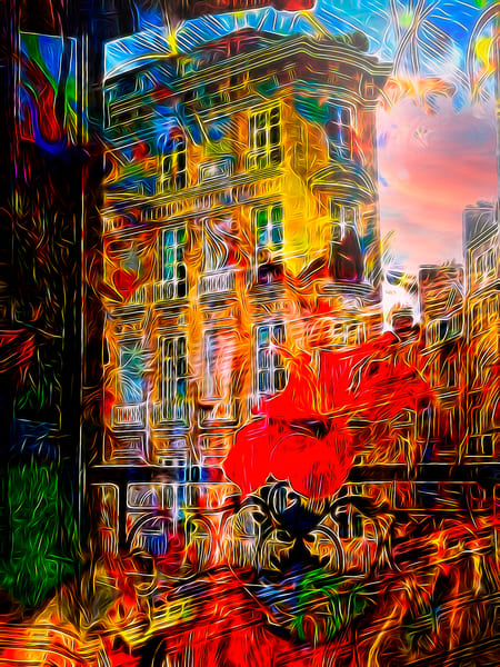 Paris Dawn With Hibiscus Art   Maciek Peter Kozlowski Art