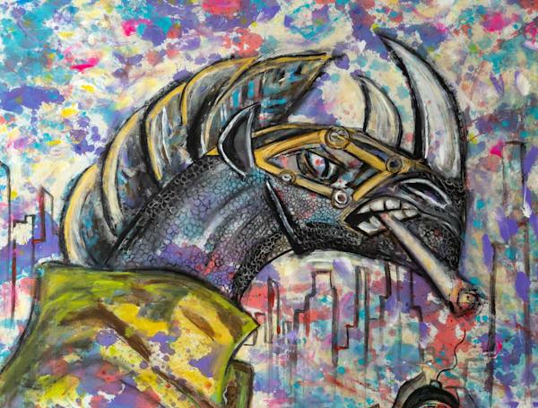 Blac Rhino In Cotton Candy Rain Art | Blac Rhino Art Group
