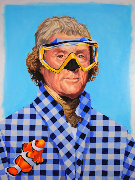 Thomas Jefferson, president, portrait, scuba mask, clownfish, painting, presidential painting, Jefferson portrait, American, American portrait, Jefferson, founding father, constitution