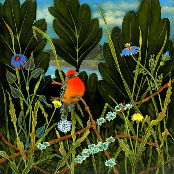 Red Bird Of Lake Chapala Art | miaprattfineart.com
