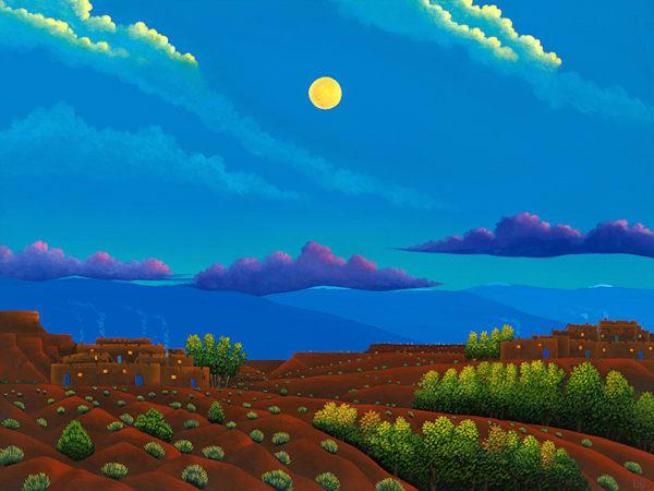 Morning Moonset Art   Fine Art New Mexico