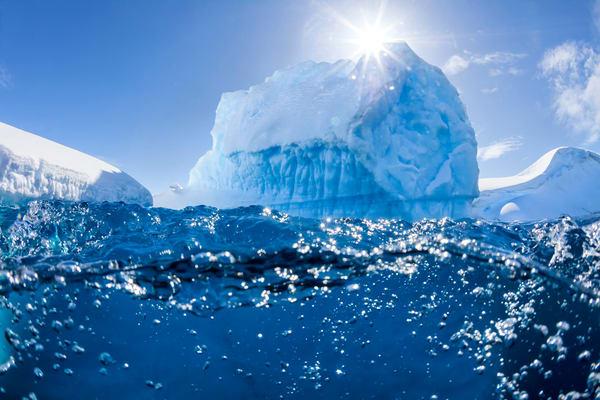 Iceberg With Sunburst And Underwater View Mg 9802 Lemaire Channel Gerlache Strait Antarctica Photography Art | Clemens Vanderwerf Photography