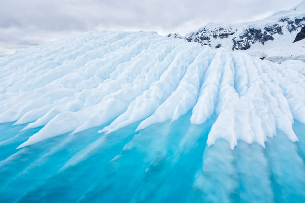 Ice Sculpture With Patterns And Blue Water S6 A9580 Paradise Bay Antarctica Photography Art | Clemens Vanderwerf Photography