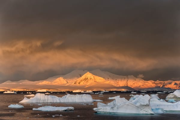 Ice Bergs Floating With Mountains In Late Light E7 T2944 Booth Island Antarctica Photography Art | Clemens Vanderwerf Photography