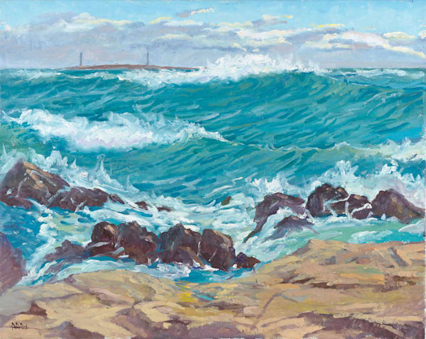 Waves On Bass Rocks In Fall 24x30