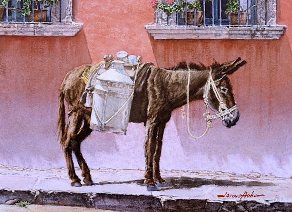 Waiting By The Red Wall Art | Fine Art New Mexico