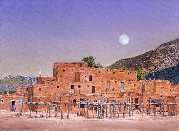 Moonset Over Taos Pueblo   1992 Art | Fine Art New Mexico