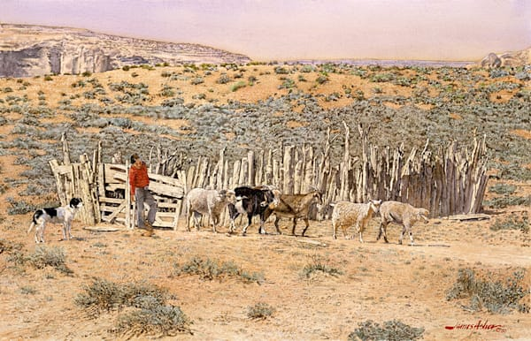Turning 'em Out To Graze   1980 Art | Fine Art New Mexico