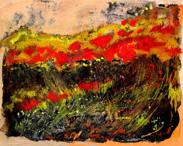 Red Poppies And Goldenrod   Coasters Art | Emily Gilman Beezley LLC