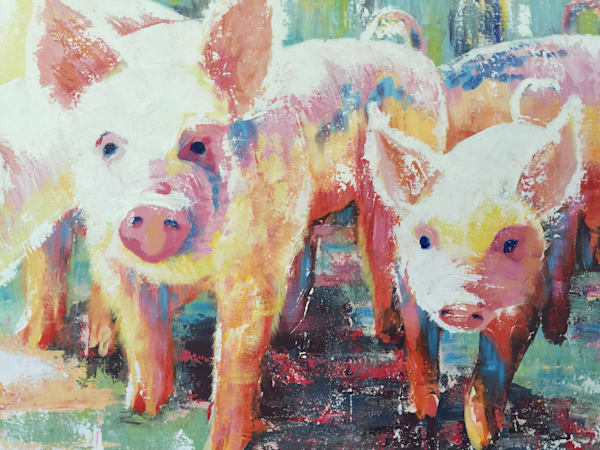 pink piglets pig farm celebrating farmhouse life and barn animals with Sophie's palette knife textures in her Back Home series