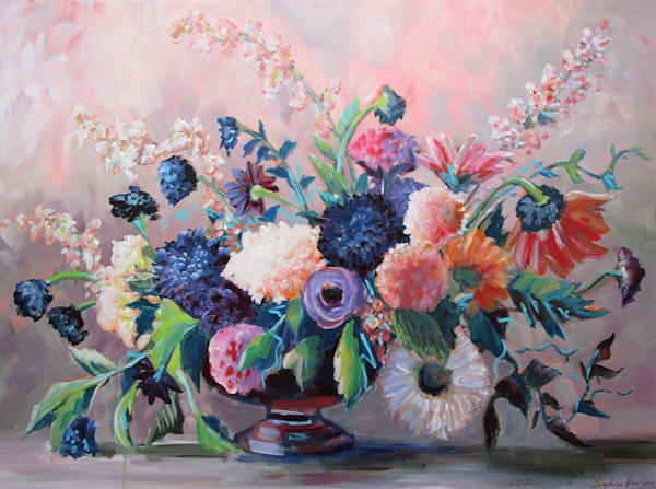 This gypsy bouquet arrangement is full of ornate blooms and wildflowers now available as a print or canvas giclee.