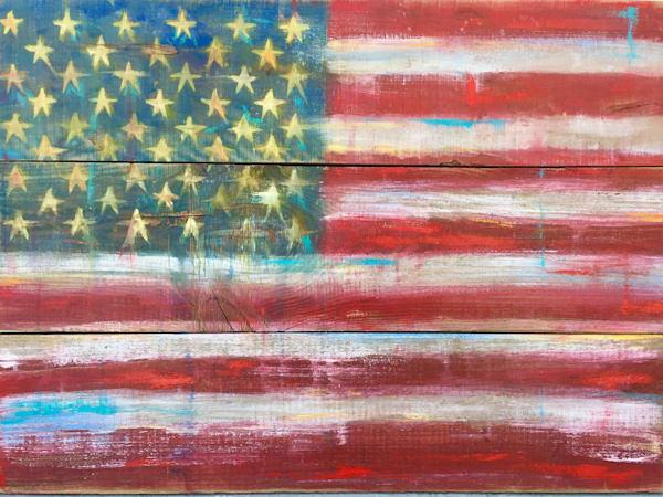 americana art of an american flag on barnwood for rustic effect.
