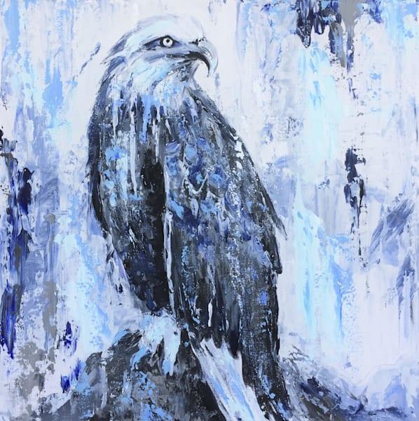 american eagle art painting indigo blue