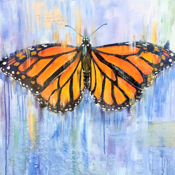 monarch butterfly ephemera mixed media collage painting by Sophie dare
