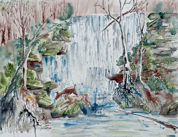 Waterfall Hideout Art | Color Splash Ranch