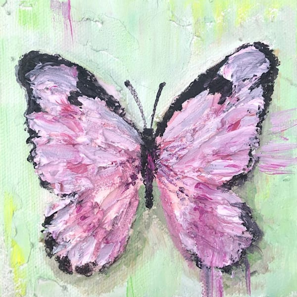 pink butterfly painting in abstract realism