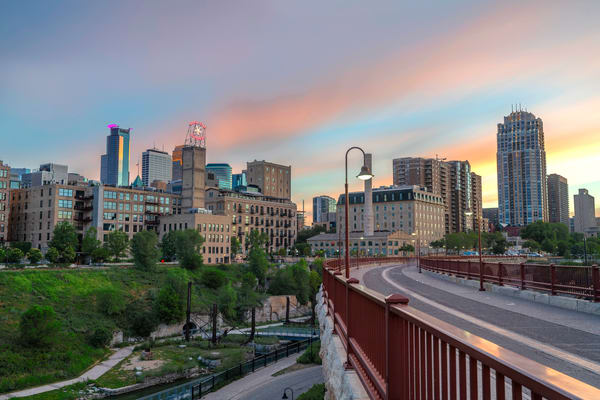 Stone Arch Sunset Pink Halo - Minneapolis Art for Sale | William Drew