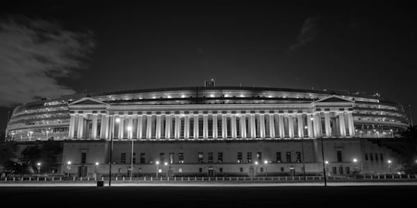 Soldier Field at Night Black and White - Chicago Art for Sale   William Drew