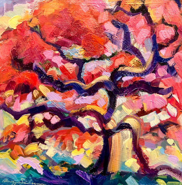 Beautiful expressionist alcohol ink landscape by Monique Sarkessian of my favorite Japanese maple tree at Winterthur Museum and Garden.