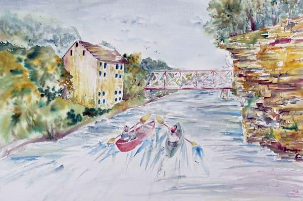 "Original Watercolor, ""Round The Bend  Kayaking Motor Mill"" Art | Color Splash Ranch"