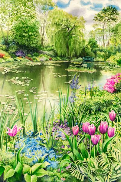 Spring Time At Monet's Garden Pond Art   Leanne Hanson Art