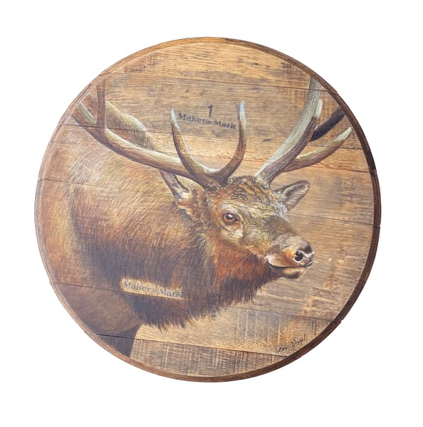Elk Barrelhead Art   Lori Vogel Studio
