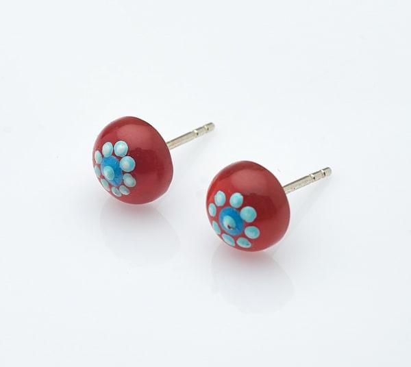Garnet Stud Handpainted Earrings