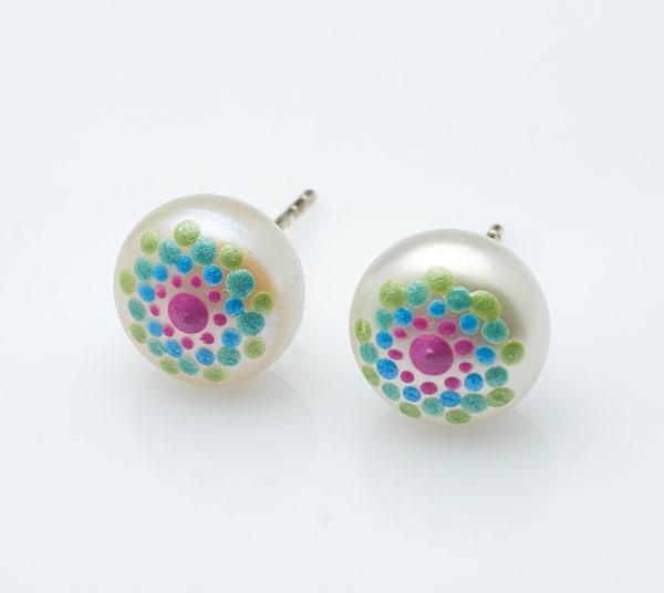 Pearl Stud Hand-painted Earrings
