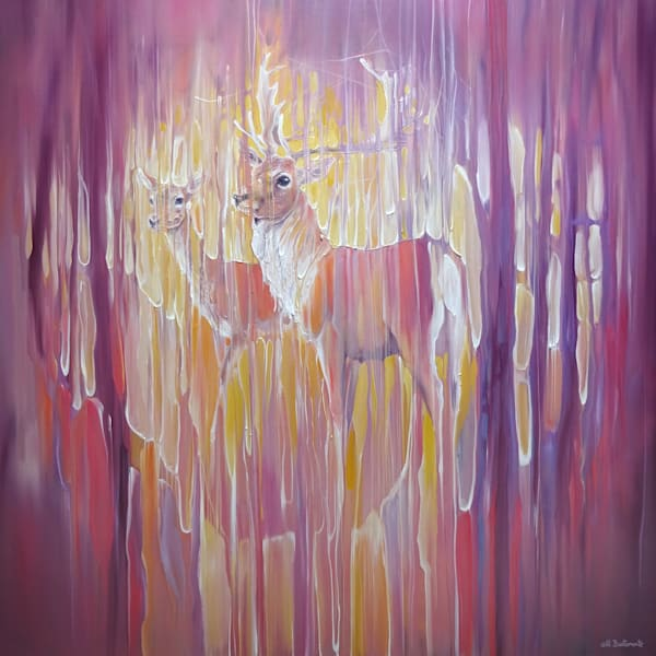 oil painting of a deer stag and a doe in abstract autumn forest