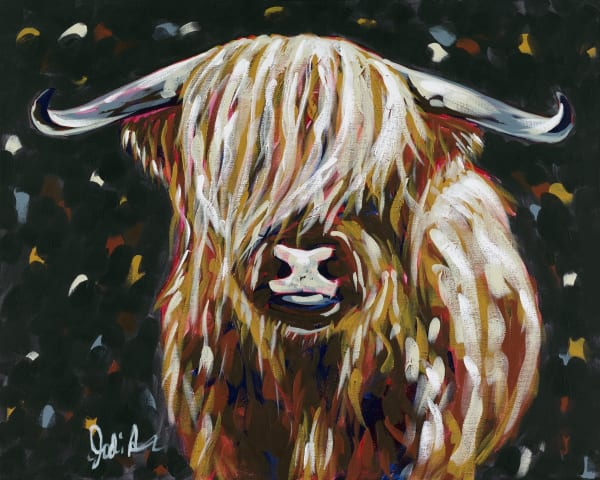 A fine art print of a long-horned cow with a shaggy coat.