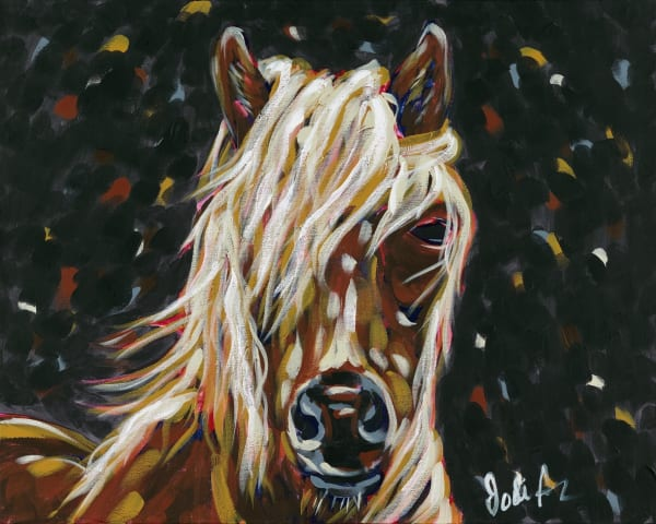 Fine art print of a wild-looking horse in a dark background.