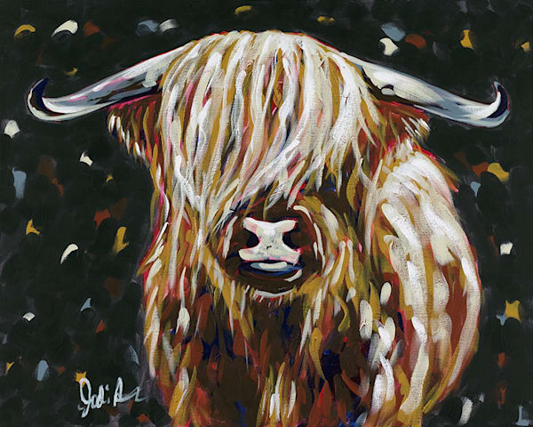 Harriet is a portrait of a long-horned cow with shaggy hair.