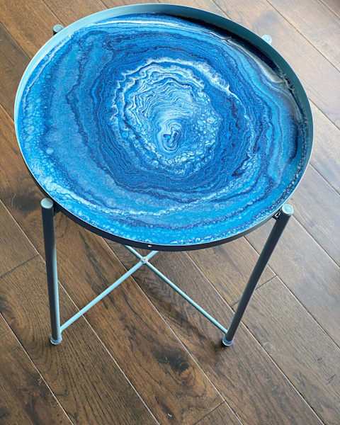 Powder Metal Blue Tray  And Table With Cloud Pour 16.5 Tray Width 20 Inch High Table | Kimberlykort