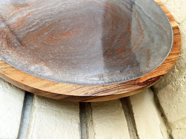 Round Wood Tray With Swirls Of Metallic Colors 13 Inch  | Kimberlykort