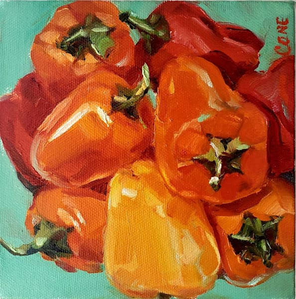 Original Oil Painting on Canvas Stretcher Box Wood Frame Pepper Time