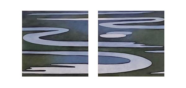 """""""Still Waters"""" Oil On Canvas, Diptych Art   Margaret Biggs Fine Art"""