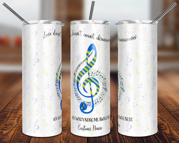 Down Syndrome Awareness Musical Notes Tumbler