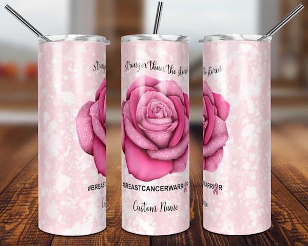 Breast Cancer Awareness Rose Tumbler