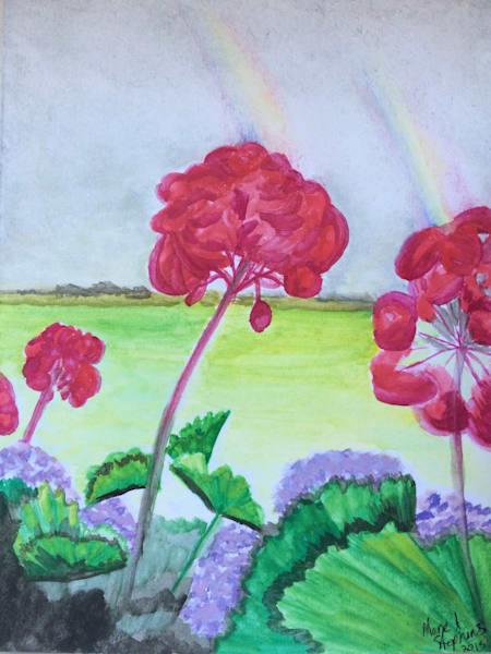 Red Geraniums  Art   Marie Stephens Art