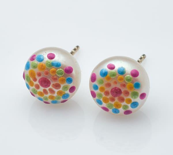 Rainbow Pearl Painted Stud Earrings