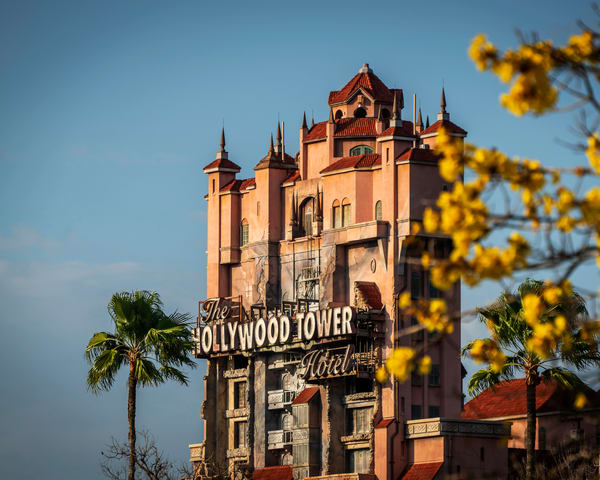The Hollywood Tower Hotel Yellow Flowers Photography Art | William Drew Photography