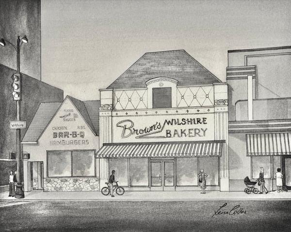 Los Angeles Ca Brown's Bakery On Wilshire   Vintage Urban Art Art | Leisa Collins Art