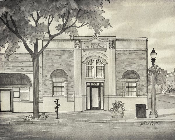 Lansing Mi Old Lansing Bank   Vintage Urban Art Art | Leisa Collins Art
