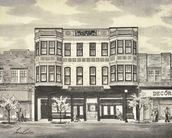 Cheyenne Wy Atlas Theater   Vintage Urban Art Art | Leisa Collins Art