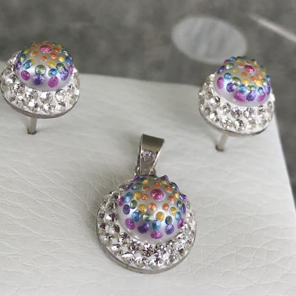 Pearl and Crystal Glittery Rainbow