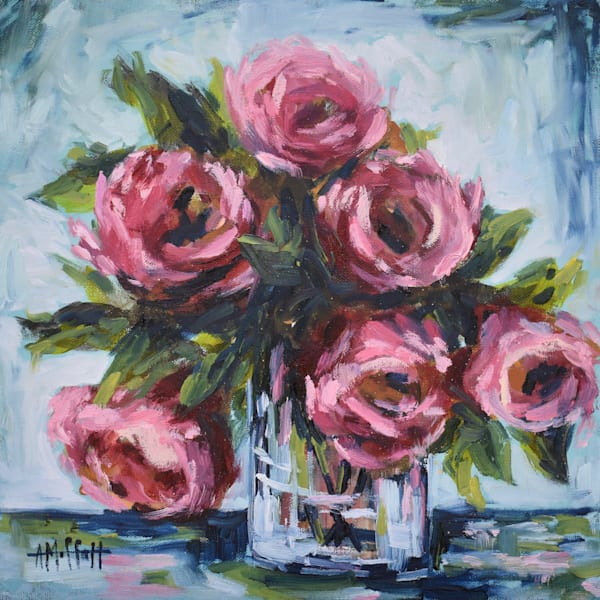 Bouquet of Roses in a Vase - Original Oil Painting - Wall Art