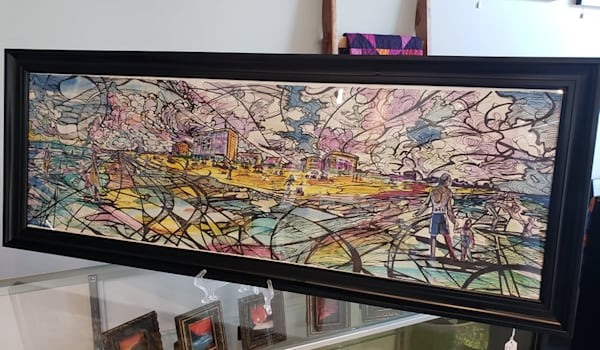 Original Framed Mixed Media Sketch Drawing Watercolor and Black Ink Myrtle Beach