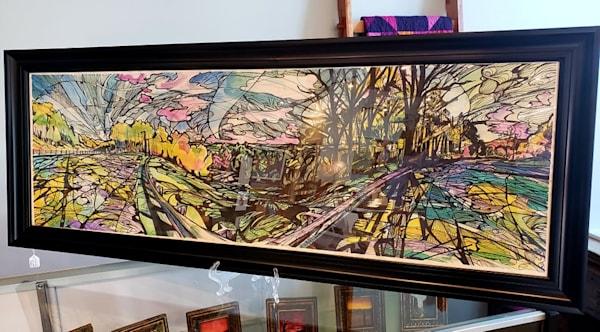 Original Framed Mixed Media Sketch Drawing Watercolor and Black Ink Kentucky KY VA Virginia Border