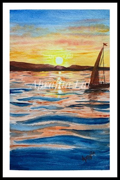 """""""A Boat and the Sunset"""" in Watercolors by Aprajita Lal (Original 5.5x7.5)"""