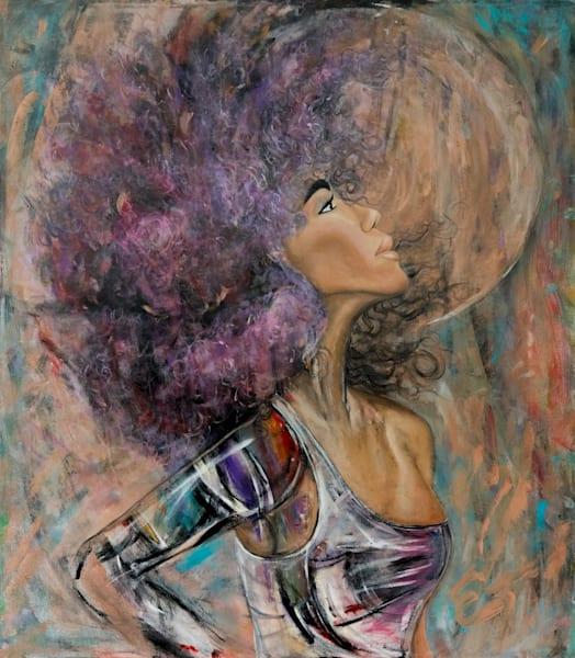 Purple Afro Disco Full Moon Funk Art | Blac Rhino Art Group